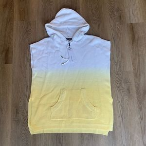 525 America Yellow Ombré Hooded Sweater Poncho L